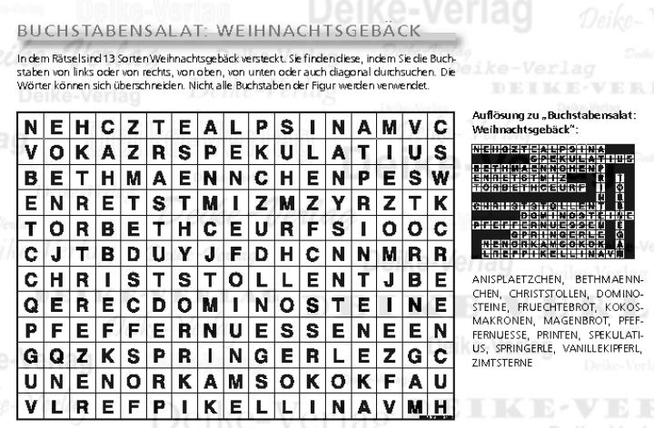 Buchstabensalat: Weihnachtsgebäck | Buchstabensalat | Kreuzworträtsel & Co | Rätsel | DEIKE ...