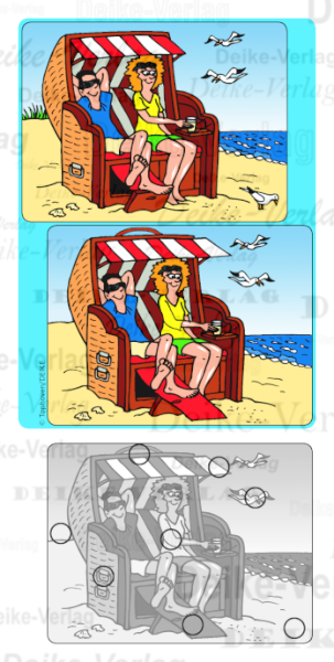 Strandkorb comic  Paar im Strandkorb - Fehlerbild KW 3313 | Urlaub & Reise | Themen ...